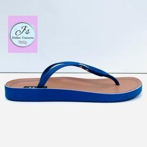 DKNY Womens Madi Rubber Cobalt Flip Flops